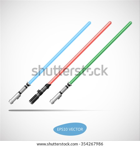 three colored light swords