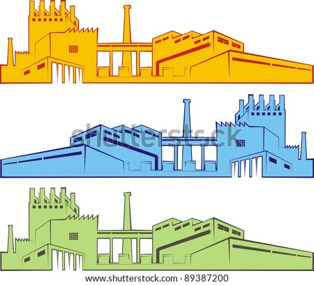 Three colorful cartoon outlines of factories / industrial facilities - color vector illustration set