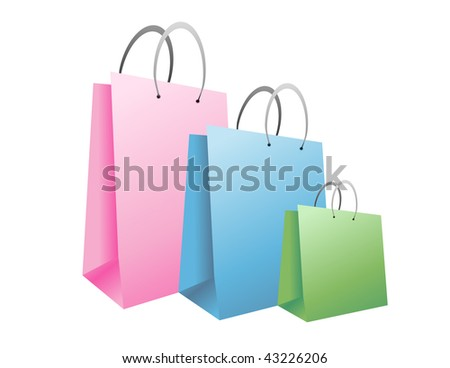 Three colorful shopping bags are on an isolated background. They are pink, blue and green
