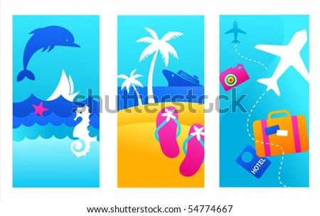three colorful summer vacation