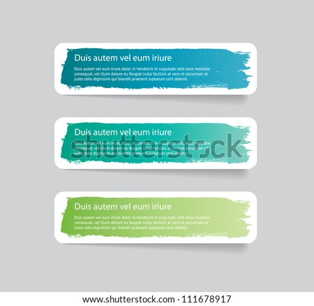 Three colorful vector stickers / labels / tags with a brush stroke hand painted background