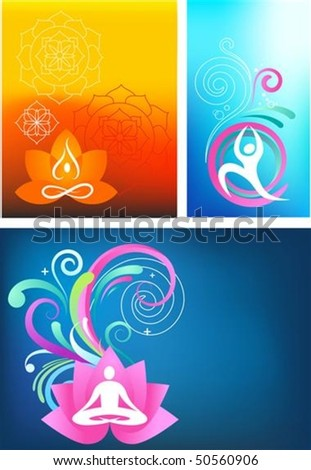 Three colorful yoga backgrounds