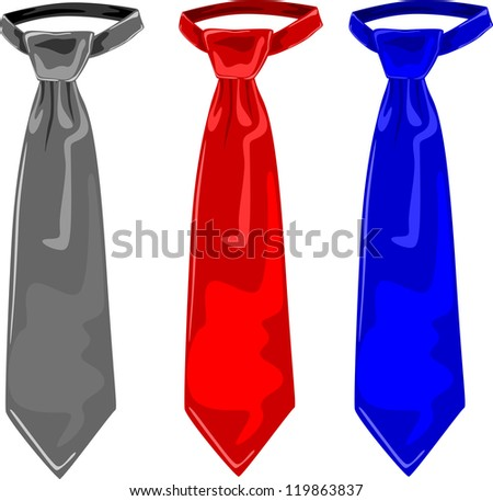 Three colors of ties, grey, red and blue, vector illustration