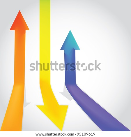 Three colour arrow going up and down - illustration