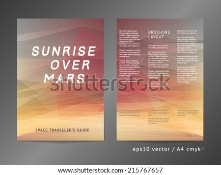 Three-column double sided vector leaflet brochure cover layout template with modern colorful polygonal Mars planet space illustration A4 eps10 cmyk