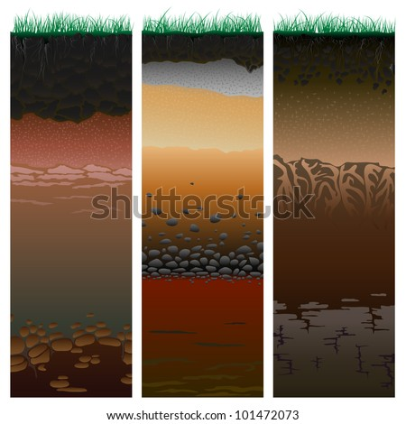 Three columns with cut of soil (profile) with a grass, roots,layers of the earth, clay and stones (Vector illustration).