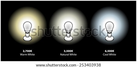 Three common colour temperatures of compact fluorescent CFL or LED bulbs. In warm, natural and cool whites.