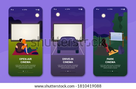 Three concepts of outdoor cinema with couples watching Open-air Cinema, Drive-in Cinema and Park Cinema, colored vector illustration