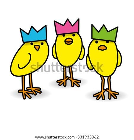 three cool yellow chicks