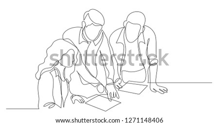 three coworkers discussing project on paper - one line drawing