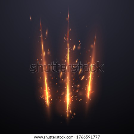Three cut lines with sparks effect background