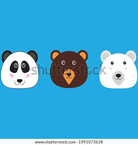 three cute bear face panda