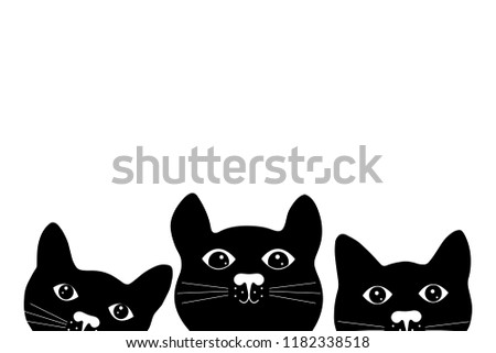three cute black cat faces