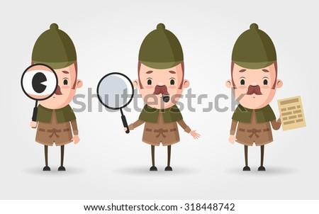 three cute cartoon detectives