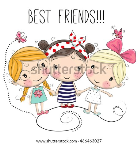Three Cute cartoon girls on a white background