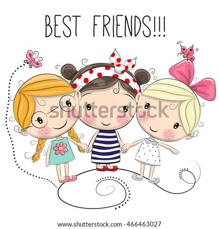 three cute cartoon girls on a