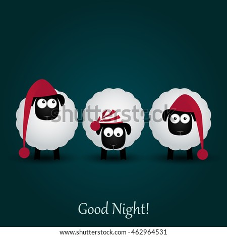 three cute cartoon sheeps in