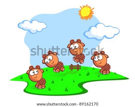 Three Cute cartoon the sheep jump through fence. Children vector scene of bright colors. Consider the sheep to fall asleep quicker. The Fun.