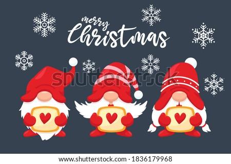 three cute christmas gnomes