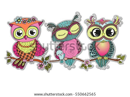 three cute colorful cartoon
