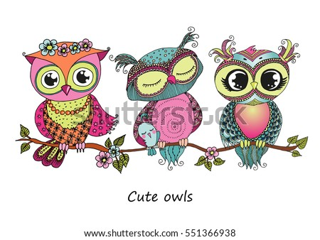 Wintery owl background download free vector art stock graphics three cute colorful cartoon owls sitting on tree branch with flowers horizontal illustration size a4 stopboris Choice Image