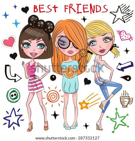 three cute girls with white