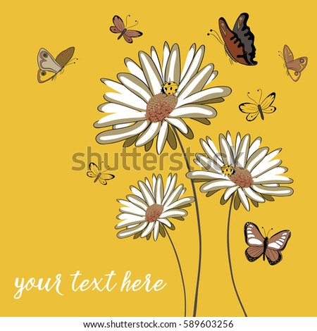 three daisies with ladybugs and