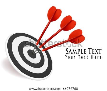Three darts hitting a target. Success concept. Vector illustration.