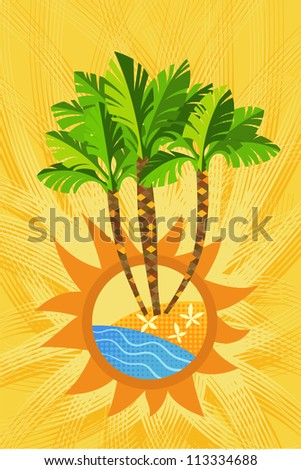 Three decorative palm trees on yellow background.