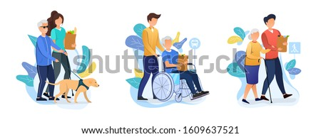 Three designs depicting old age care for retirees with carers helping an elderly person with dog, in a wheelchair and using a walking stick with their shopping, vector illustration