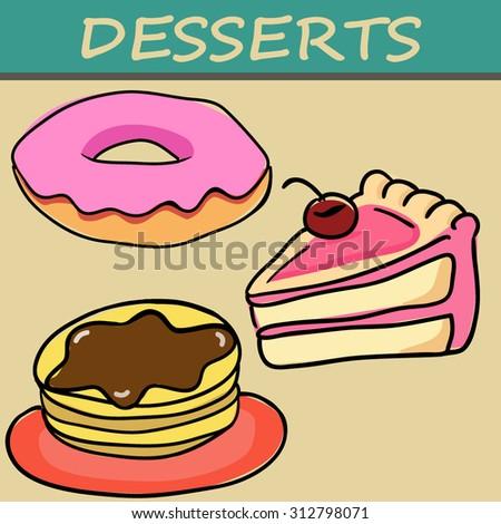 three desserts in cartoon style