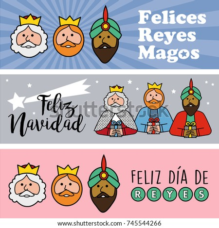 Three different banner. Happy epiphany in three different colors. Christmas vectors written in spanish
