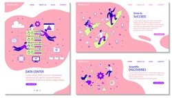 Three different business template designs with copyspace for text with diverse people in a data centre, ambition and success and scientific discoveries, colored vector illustration