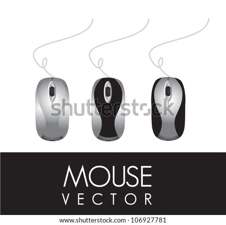 three different computer mouse on a white background, vector illustration