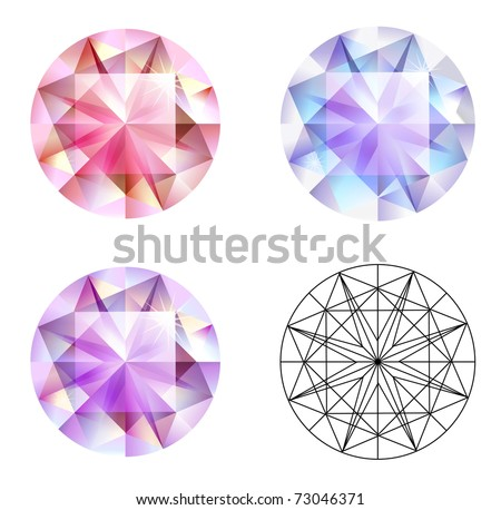 Three different kind of gems isolated on the white