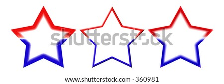 Three different red, white, and blue stars with white space in the middle for text.