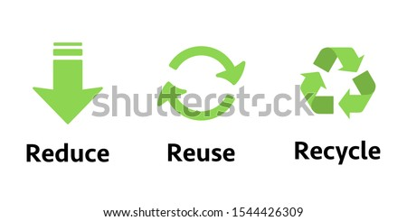 Three different sign Reduce, reuse, recycle. Concept ecology, sustainability, conscious consumerism, renew. Recycle sign. Foto stock ©