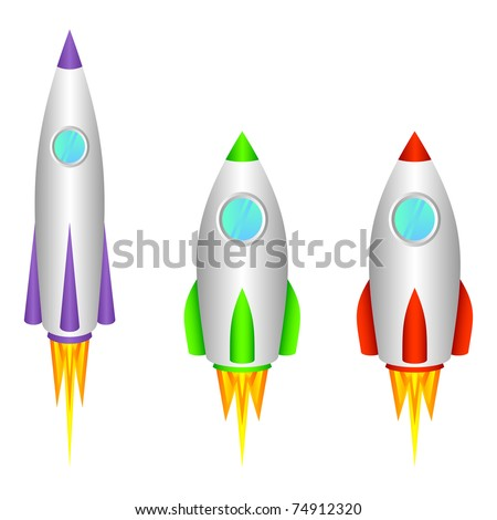 three different space rockets