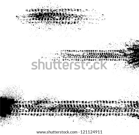 Three different tire track on white background