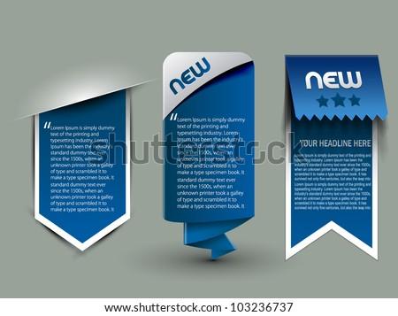 three different web style banner elements design.
