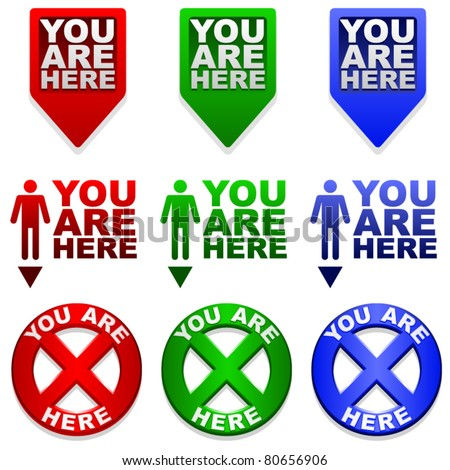 Three different YOU ARE HERE map markers in different colors