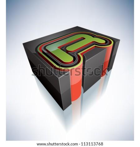 Three-dimensional alphabet: capital letter R