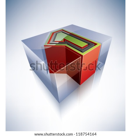 Three-dimensional alphabet: digit 1 in a transparent ice cube like blue box on a blue background