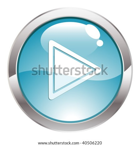 Three Dimensional circle button with Play icon, vector illustration