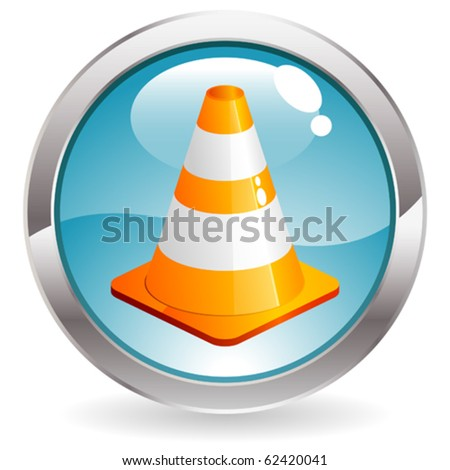 Three Dimensional circle button with traffic icon, vector illustration