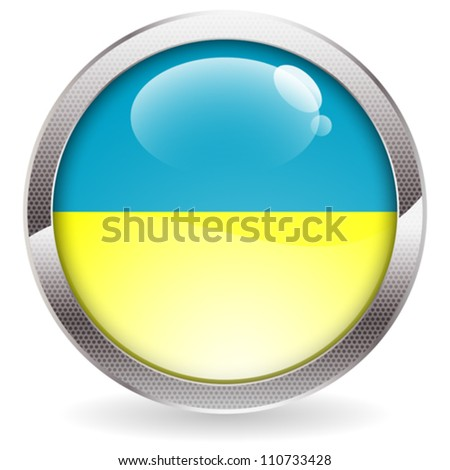 Three Dimensional circle button with Ukraine Flag, vector illustration