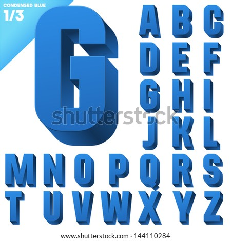 Three-dimensional condensed alphabet. Vector illustration of 3d font characters. Clear color style. Upper case #144110284