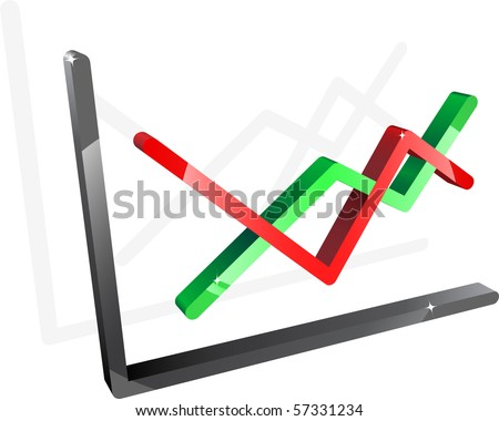 Three-dimensional diagram with two lines. Vector.