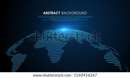 Three dimensional earth composed of lines, vector illustration.