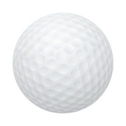 Three-dimensional golf ball isolated on white background. Vector EPS10 illustration.